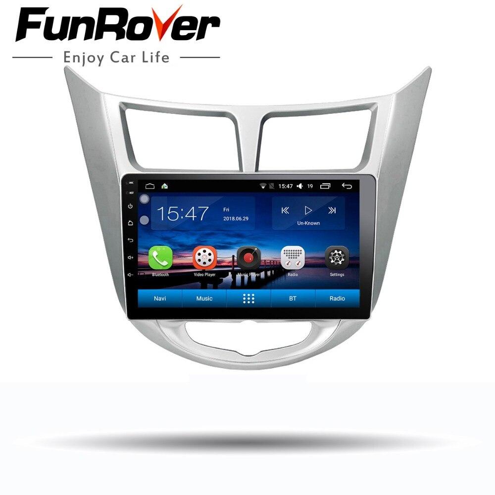 Funrover 9 Android 8.0 2 din Voiture DVD GPS Lecteur Pour Solaris Verna Accent avec gps navigation radio vidéo voiture stéréo multimédia