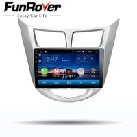 Funrover 9 Android 8,0 2 din автомобиль DVD gps плеер для Solaris Verna акцент с gps навигации радио Видео Стерео Мультимедиа