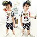 2016 new (2pcs/set)Baby short T-shirt set Clothing Set Brand Baby boy Clothes 100% Cotton cartoonbear printed  Tee