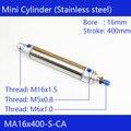 Пневматический воздушный цилиндр из нержавеющей стали MA16 * 400  диаметр отверстия 16 мм  ход 400 мм  MA16X400-S-CA  двойные мини-Цилиндры