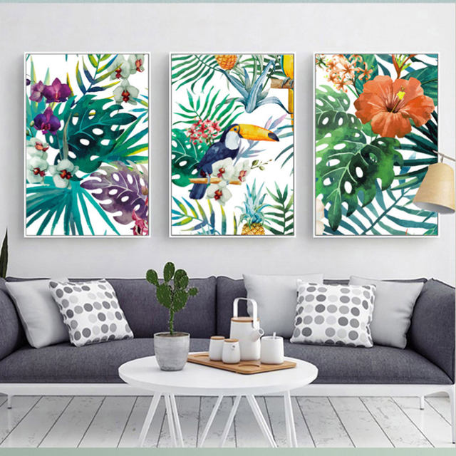 Watercolor Plant Leaves Poster Print Landscape Wall Art  1