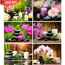 Huacan DIY Diamond Embroidery Orchid Stone Square Pattern Rhinestone Sets Painting Cross Stitch Wall Decor Needlework