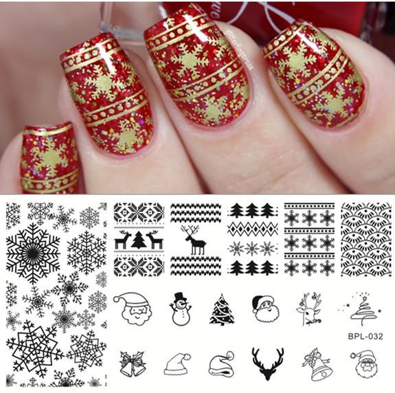Newly 1 Pc BORN PRETTY BP-L032 Xmas Christmas Snowflake Nail Art Stamp Template Image Plate