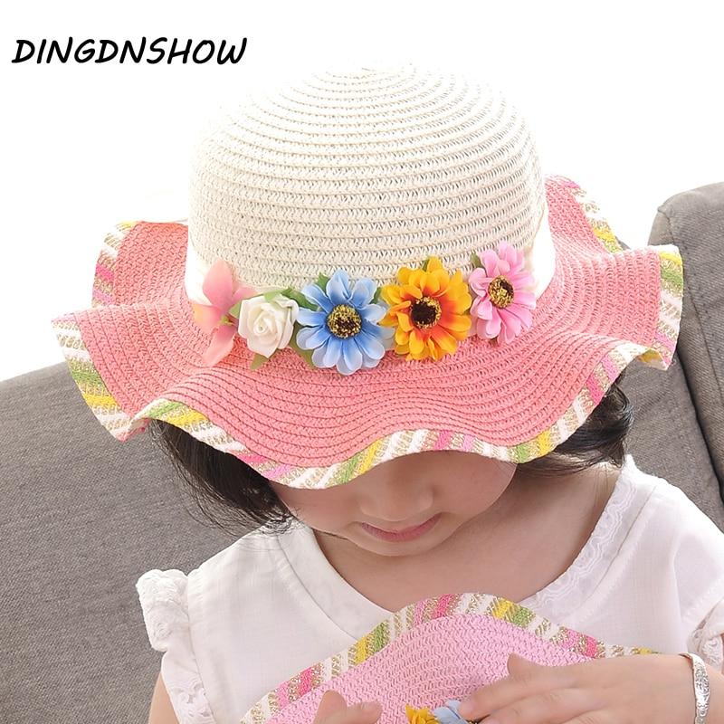 Lovely Girls Straw Sun Hat Children Wide Brim Floppy Summer Beach Caps