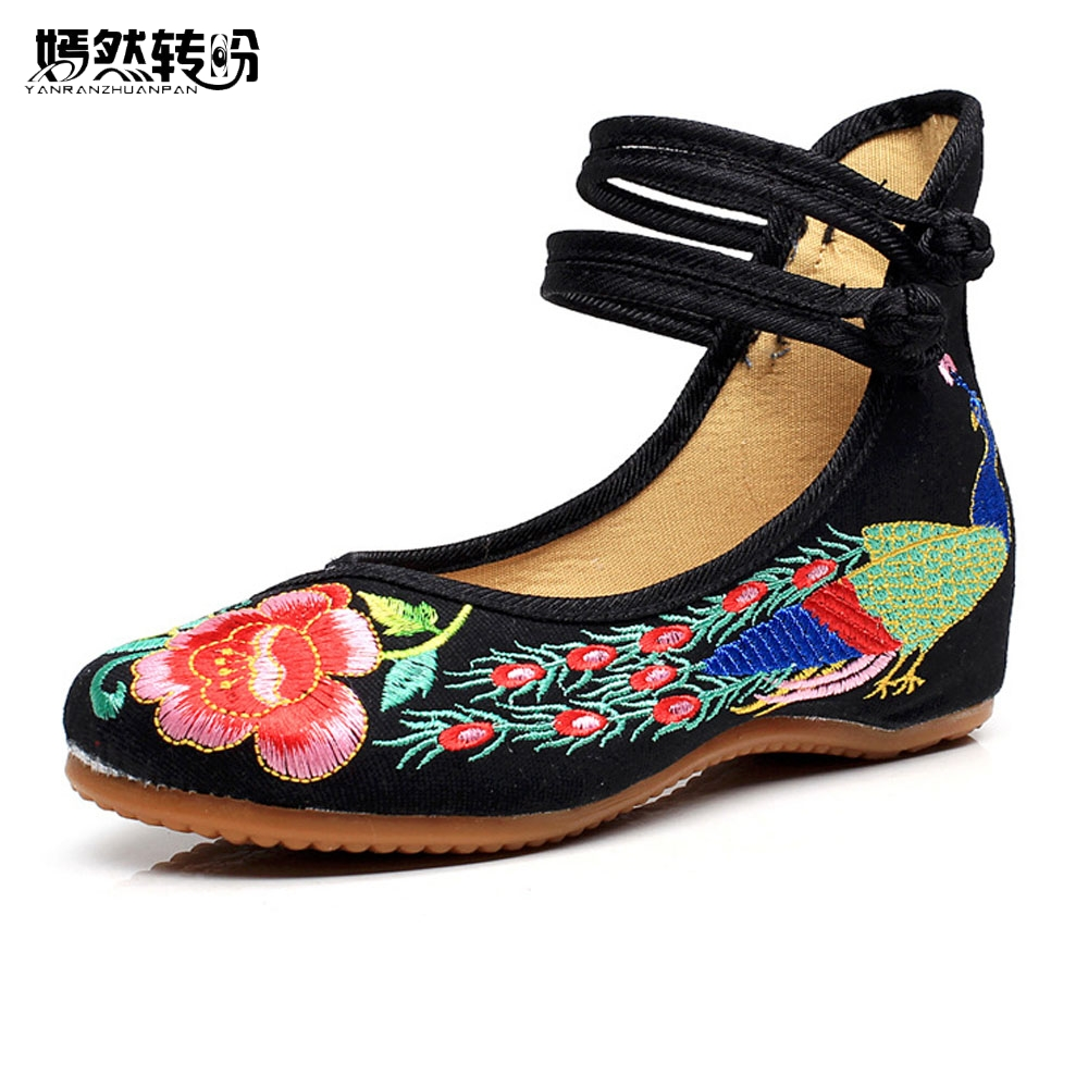 29 Colors Fashion Women's Shoes Old Peking Mary Jane Flat Heel Denim Flats with Embroidery Soft Sole Casual Shoes Plus Size 41 peacock embroidery women shoes old peking mary jane flat heel denim flats soft sole women dance casual shoes height increase