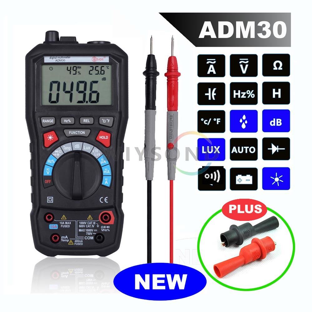 ADM30 5 in 1 Auto Range Digital Multimeter with Humidity Sound Meter Noise Thermometer Luxmeter Luminance Function