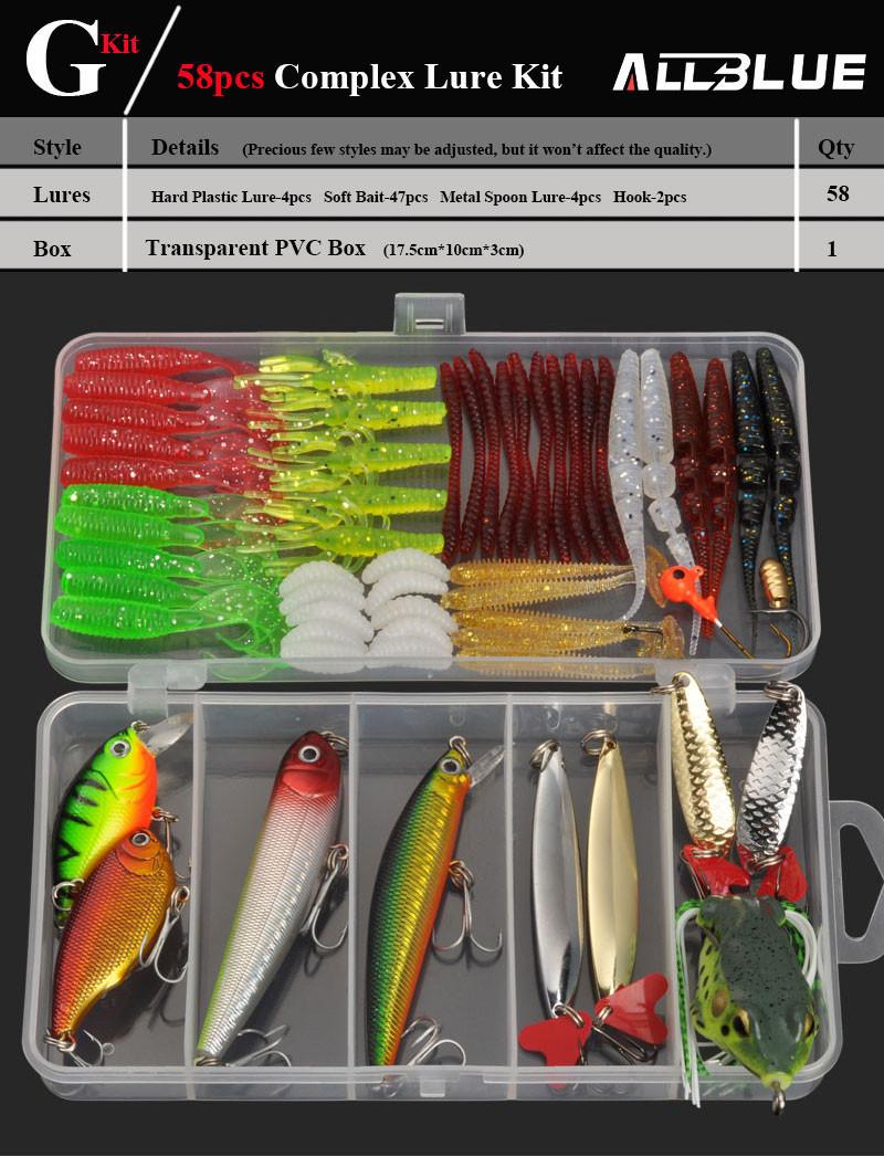allblue рыбалка приманки минноу/поппер/воблер ложки металлические приманки мягкие приманки рыбалки приманку комплект иска искусственный, смешанный цвет/стиль/вес