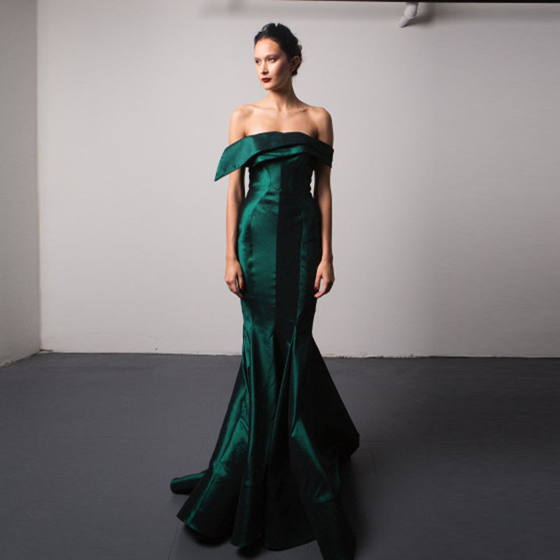 High End Emerald Green Color Mermaid Evening Dresses Strapless Off ...