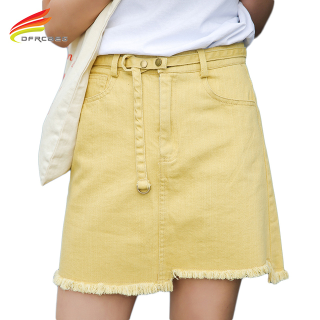 e0dc8040a03 Summer 2017 High Waist Denim Skirts For Women Yellow And White Color Skirt  Woman Korean Style Mini Skirt Saia Jeans Femme
