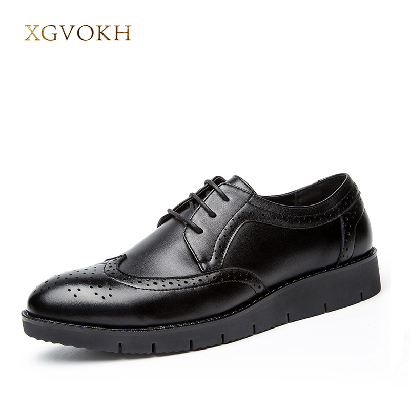 Business Dress Men Formal Shoes Wedding Pointed Toe Fashion Split Leather Shoes Flats Oxford Lace-Up Black Shoes XGVOKH Brand цены онлайн
