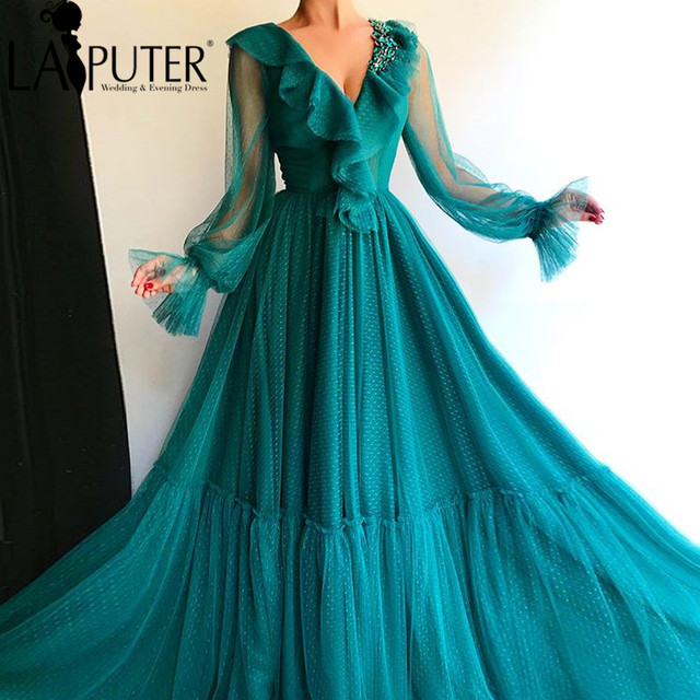 c641055ff67d LAIPUTER Formal Dress Women A-line Long Sleeves Dark Green V-neck Pleats  Crystals ad Beads Elegant Dress Party 2018