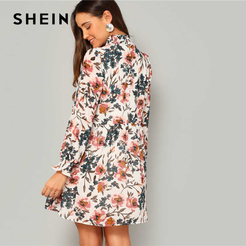 Шеин чешские Многоцветный Frilled шеи и манжеты Цветочный принт свободное расклешенное платье Для женщин весна-Line Элегантный шифоновые мини-платья