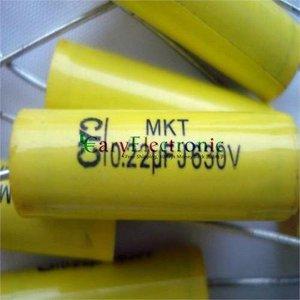 Image 3 - Bán buôn và bán lẻ dẫn dài màu vàng Axial Polyester Film Tụ điện tử 0.22 uF 630 V âm thanh ống fr amp miễn phí vận chuyển