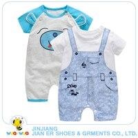 2pcs A Lot Newborn Baby Clothes Boy Animal Style Romper Short Sleeve Light Blue Color Cotton