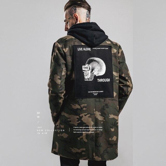 2016 Новый Настоящее Камуфляж Ветровка В Долгосрочной Разделе Оснастки Куртка Мужчины Темный Прилив Карты Патч Корея Печати Вышивка