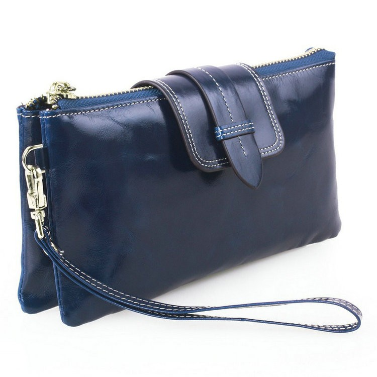 blue leather wallets for women