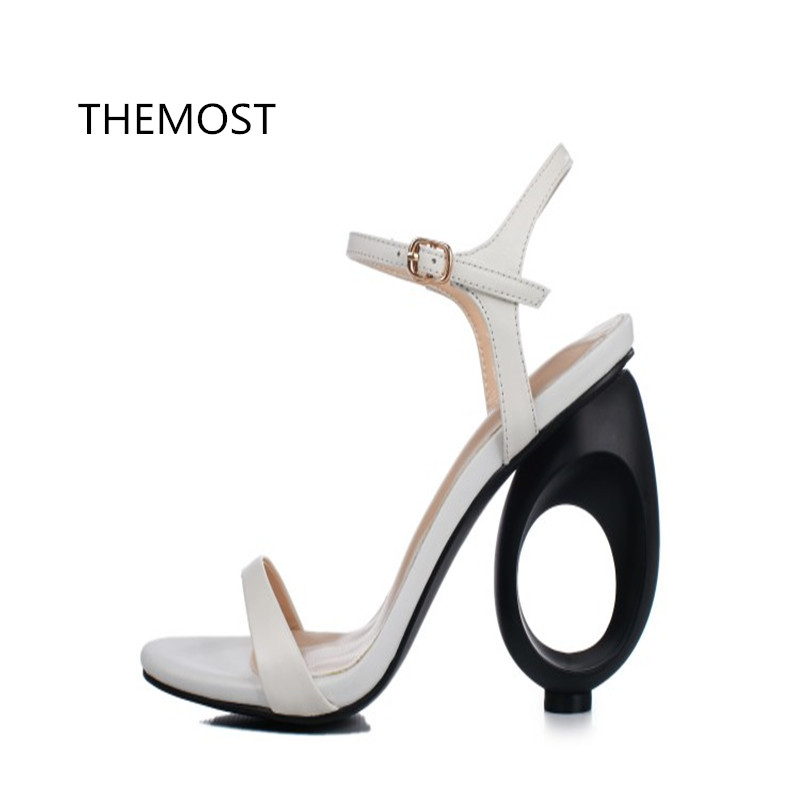 THEMOST 2017 summer new fashionable foreign trade high heel sandal Europe and American style 3 kinds of color can choose themost sexy fish mouth hollowed out roman sandals fashion foreign trade european and american style four colors can be selected