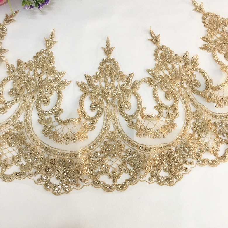 Golden Ethnic Trim Braided Ribbon Handcrafted Sequin pillow curtain Lace 1 Yd