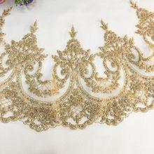 ca28a4181229c5 3 Yard Veel Champagne goud Bronzing boor kraal stuk sequin lace stof diy  handgemaakte kant trim trouwjurk kleding accessoires