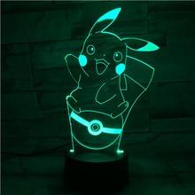 Pokemon Go Pikachu Figure 3d Nightlight LED Touch Sensor Living Room Decor Drop Shipping Battery Night Light Table Lamp