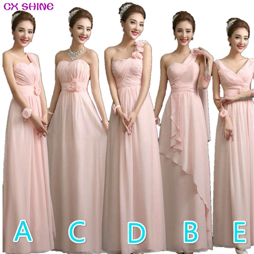 CX SHINE Color personalizado! 5 vestidos largos de gasa estilo dama de honor vestido de novia, vestido de fiesta vestido de fiesta mujeres Vestidos Tallas grandes
