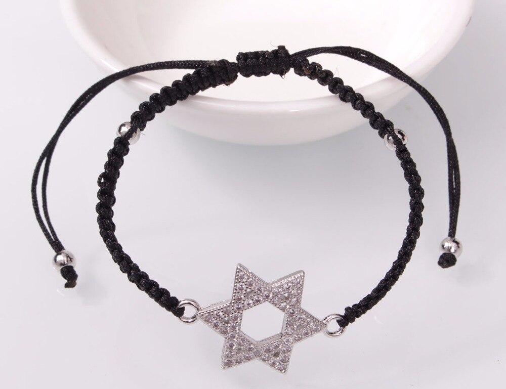Etoile de David bracelet à breloques zircon micro pavé cuivre 4
