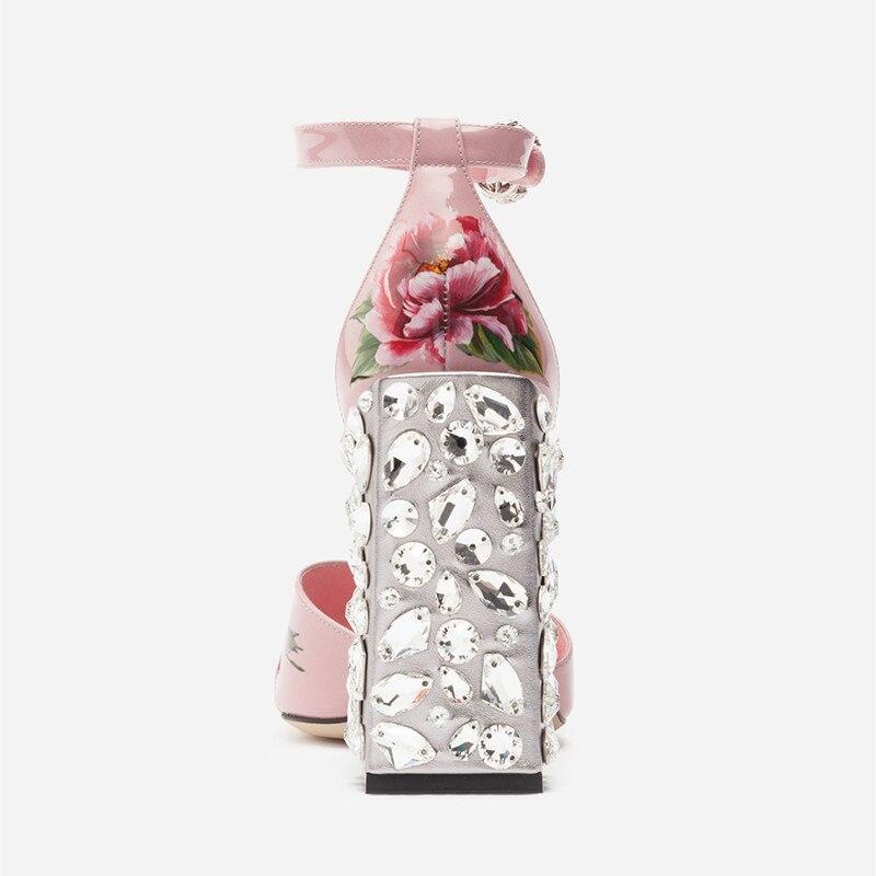 Sandalias À Cuir Bride Femmes Mujer Cristal Fleur Cheville As Embelli D'été 2018 En Pic Hauts Imprimer La Sandales Rose Gladiateur Chaussures Talons qqr8zwO