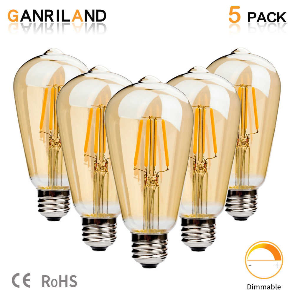 Ganriland E27 Led St64 4w Golden Cover Dimmable Edison Retro Vintage Filament Cob Led Bulb Light Lamp E27 220vac 2200k Sale 5pcs Led Bulbs Tubes Aliexpress