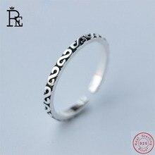 RE 100% Real S925 Sterling Silver Ring Resizable Letter S Wedding Engagement Finger Knuckle Rings for Women Female