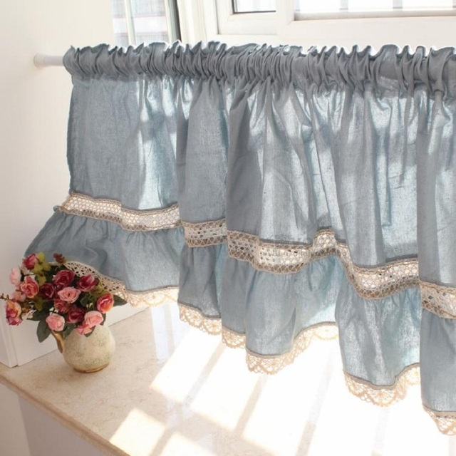 Free Shipping Blue Lace Juxtaposition Hem Short Curtain Coffee Curtain Kitchen  Curtains For Living Room Bedroom