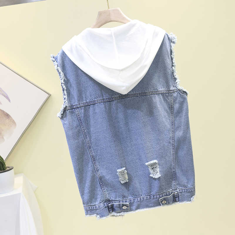 Весна и лето новый ретро СВОБОДНЫЙ Модный жилет с капюшоном джинсовый bf куртка с отверстиями без рукавов короткий жилет женский