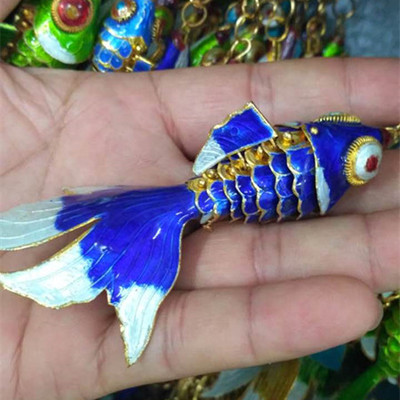 Эмаль 7,5 качели животное Золотая Рыбка брелок рыба брелки китайская перегородчатая эмаль брелки для ключей автомобиля сумка аксессуары этнический подарок - Цвет: Синий