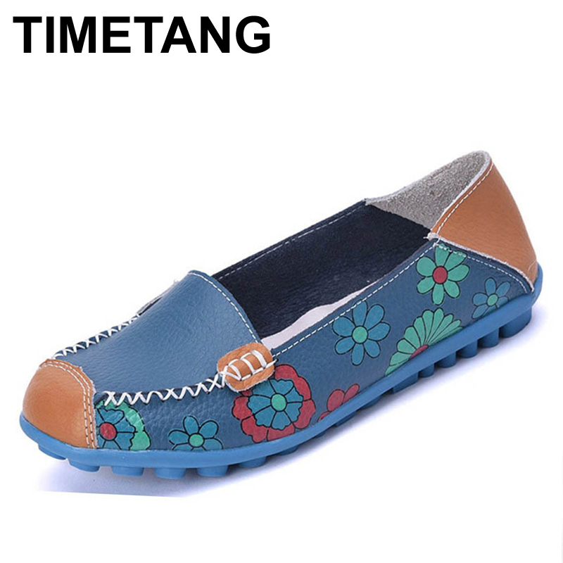 TIMETANG 2017 Spring Women Casual Shoes Genuine Leather Printing Loafers Shoes Woman Fashion Slip On Shallow Mouth Flats Shoes minika women shoes flats loafers casual breathable women flats slip on fashion 2017 canvas flats shoes women low shallow mouth