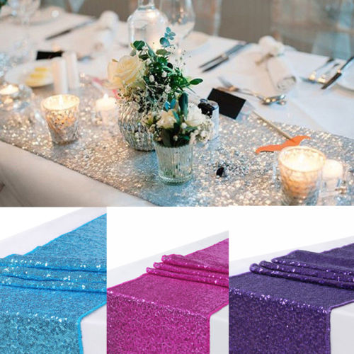 Hot Fashion Sequin Polyester Table Runner Glitter Home Textile Wedding Party Dinner Table Banquet Supply Decorations