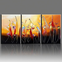 Hand Painted Modern Abstract Bottle Wine Oleo 3 Panel Canvas Painting For Kitchen Decor Wall Pictures