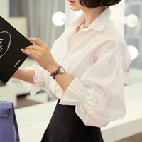 White Shirt Women 2016 Autumn Korean Style Turn Down Collar Puff Sleeve Long Sleeve Work Office