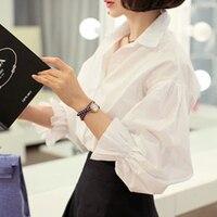 Beyaz Gömlek Kadın 2017 Sonbahar Kore Stil Turn Down Yaka puf Kollu Uzun Kollu Çalışma Ofisi Bayanlar blusa feminina Tops T142