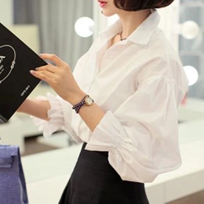 White Shirt Women 2016 Autumn Korean Style Turn Down Collar Puff Sleeve Long Sleeve Work Office Ladies Tops blusa feminina T142