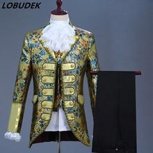 Cinco colores estilo europeo para hombres vestido de corte Vintage 5 piezas traje de novio boda ropa Drama traje cantante coro trajes formales