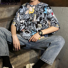 HIYSIZ NEW T-Shirt 2019 Summer Casual Streetwear Popular logo leisure graffiti beauty geometric men short sleeve T-shirt ST282