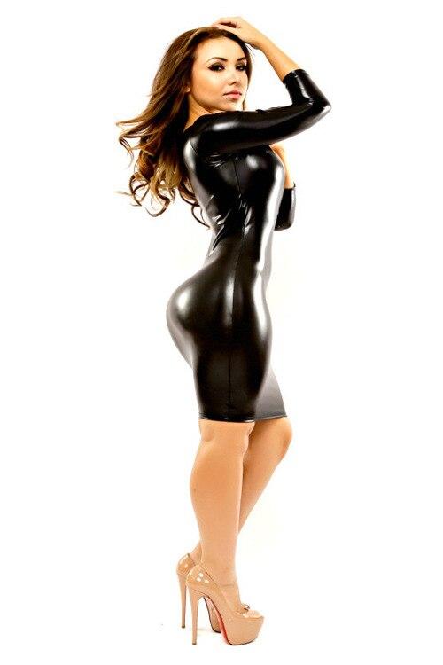 8824181ccd5e6 🛒 Plus Size XXL Sexy Lady Latex Catsuit Wetlook Deep V neck PVC ...