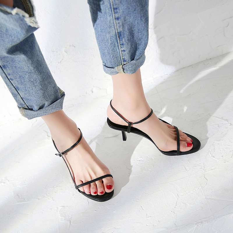 Stylesowner 20119 Fashionable Thin Belt Sandal Shoe Open Toe Solid Color 7cm Thin Heel Ankle Strap Consice Lady Cool Sandalias in High Heels from Shoes