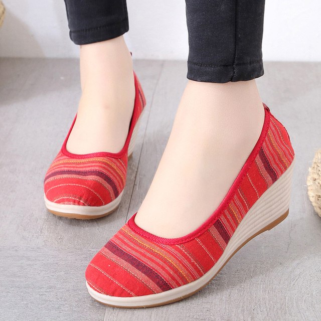 dcf308f931ac Spring Autumn Women Wedges High Heels Shoes Canvas Striped Slip on Shoes  Woman Shoes Wedge Pump Ladies Shoes zapatos mujer 6163