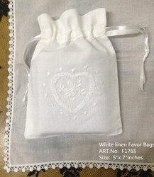 Mode Geschenken Tassen 48 Stks/partij 5x7 Wit linnen Favor Tassen Kan Collection Voor Mooie Bruiloft Zakdoeken Ideaal voor kleine geschenken