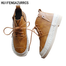 HUIFENGAZURRCS-Art Sen Hand-sewn Shoe Soft-soled Leather Breathable Girl's Boots Academy Wind Leisure Boots Retro Buddhist Shoes