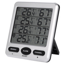 Multi-Fungsional LCD Wireless 8-Channel Indoor/Outdoor Thermo Hygrometer dengan Tiga Sensor Jarak Jauh Fungsi Alarm digital 433 MHZ(China)