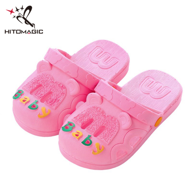 HITOMAGIC Children Slippers Girls Boys Shoes For Baby Toddler Kids Slippers  Jelly For Summer Home Indoor Beach Pink Letter Size d48532e6db07