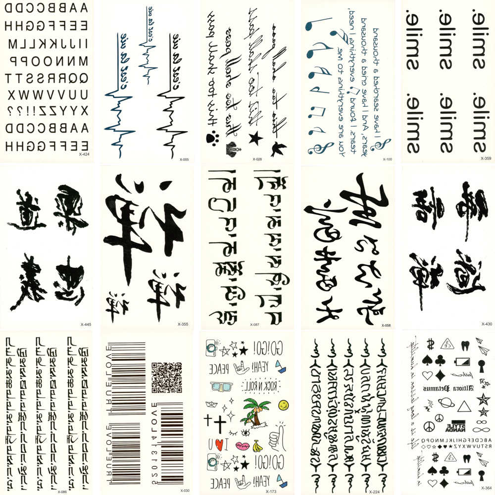 30pcs Fake Temporary waterproof Black Text Tattoo supplies Water Transfer Flower Sticker Man Women Beauty Cool Body Art X30ZH-03