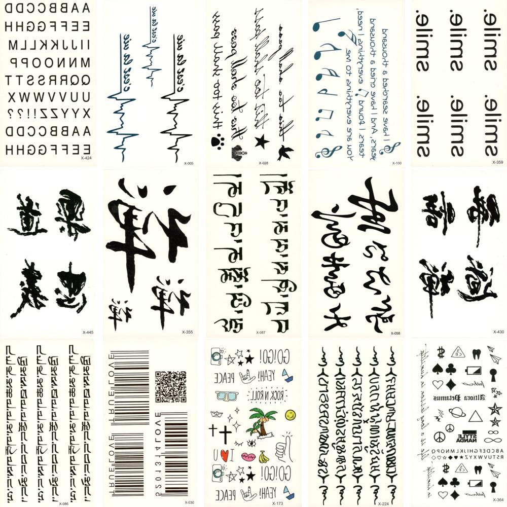 30 db hamis ideiglenes vízálló fekete szöveg tetoválás - Tetoválás és testmûvészet
