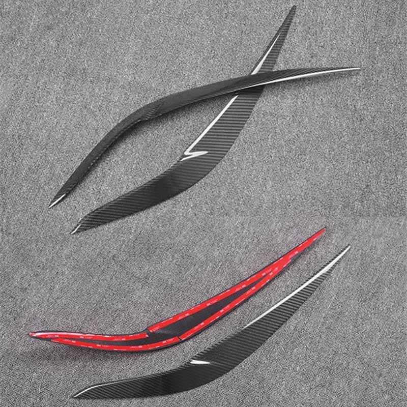 Autocollant de garniture de paupière de sourcils de couverture de phare de Fiber de carbone pour BMW X1 2016